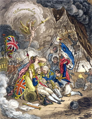 The Death of Admiral Lord Nelson at the Moment of Victory! published by Hannah Humphrey in 1805 Postcards, Greetings Cards, Art Prints, Canvas, Framed Pictures & Wall Art by James Gillray
