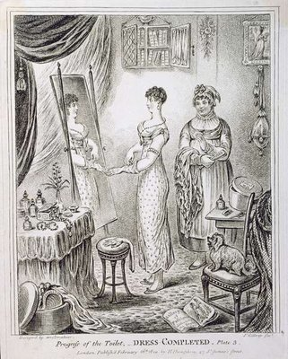 Progress of the Toilet, or Dress Completed, published by Hannah Humphrey in 1810 Fine Art Print by James Gillray