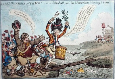 Preliminaries of Peace, or John Bull and his Little Friends Marching to Paris, published by Hannah Humphrey in 1801 Postcards, Greetings Cards, Art Prints, Canvas, Framed Pictures, T-shirts & Wall Art by James Gillray
