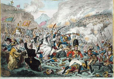 Spanish-Patriots Attacking the French-Banditti, published by Hannah Humphrey in 1808 Fine Art Print by James Gillray