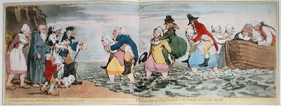 Le Debarquement du Chevalier John Bull et de sa famille a Boulogne sur Mer, or The Landing of Sir John Bull & his Family at Bologne sur Mer, engraved by James Gillray Fine Art Print by Henry William Bunbury