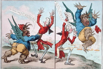 The Tables Turn'd, published by Hannah Humphrey in 1797 Postcards, Greetings Cards, Art Prints, Canvas, Framed Pictures, T-shirts & Wall Art by James Gillray