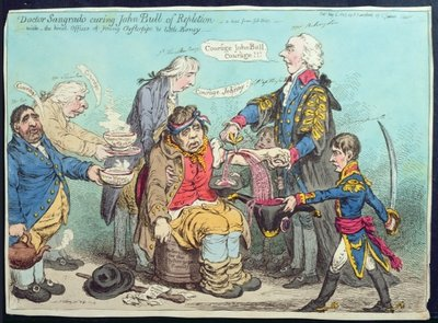 Dr Sangrado curing John Bull of Repletion, published by Hannah Humphrey in 1803 Fine Art Print by James Gillray
