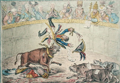 The Spanish Bull Fight, or The Corsican Matador in Danger, published by Hannah Humphrey in 1808 Fine Art Print by James Gillray
