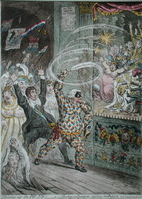 Blowing up the Pic Nic's, or Harlequin Quixotte attacking the Puppets, published by Hannah Humphrey in 1802 Fine Art Print by James Gillray