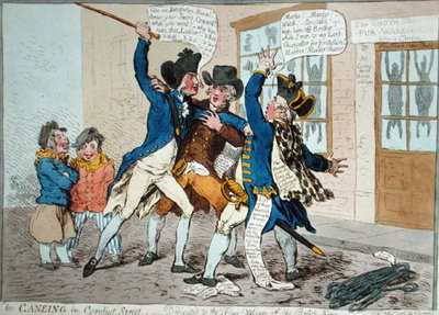 The Caneing in Conduit Street, published by Hannah Humphrey in 1796 Fine Art Print by James Gillray