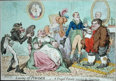 Leaving off Powder, or A Frugal Family saving the Guinea, published by Hannah Humphrey in 1795 Fine Art Print by James Gillray