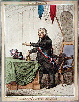 President d'Administration Municipale, plate 5 from 'French Habits' published by Hannah Humphrey in 1798 Postcards, Greetings Cards, Art Prints, Canvas, Framed Pictures & Wall Art by James Gillray