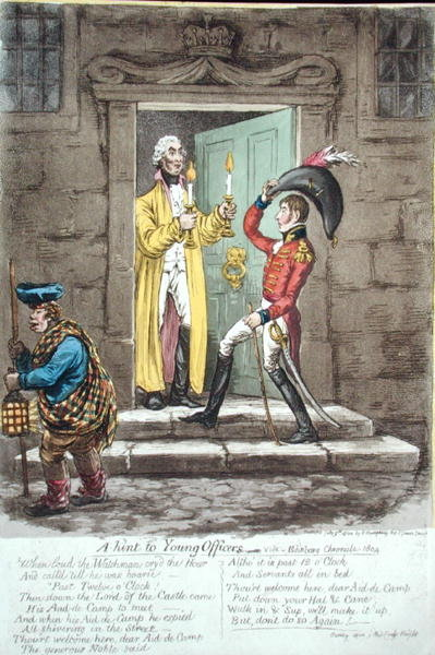 A hint to Young Officers, published by Hannah Humphrey in 1804 Fine Art Print by James Gillray