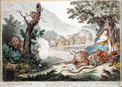 The Wounded Lion, published by Hannah Humphrey in 1805 Fine Art Print by James Gillray