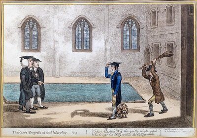 Plate 3 from 'The Rake's Progress at University', published by Hannah Humphrey in 1806 Fine Art Print by James Gillray