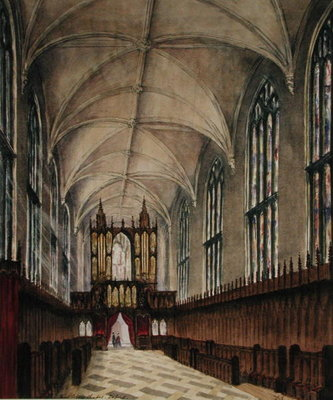 Interior of New College chapel after later 18th century alterations, c.1870 Postcards, Greetings Cards, Art Prints, Canvas, Framed Pictures, T-shirts & Wall Art by Loraine Salome Estridge