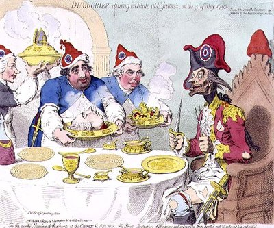 """Dumourier dining in State at St. James's on the 15th May 1793"", pub. by Hannah Humphrey, 1793 Poster Art Print by James Gillray"