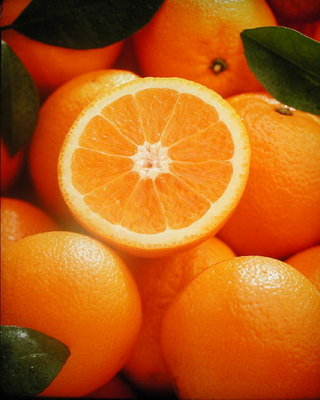 Oranges and cut orange, 1996 (colour photo) Wall Art & Canvas Prints by Norman Hollands