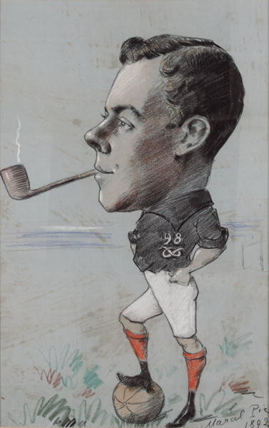 Pipe Smoking Footballer of the 98th North Staffordshire Regiment, 1892 Fine Art Print by Marcel Pic