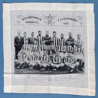 Handkerchief to commemorate West Bromwich Albion reaching the FA Cup Final in 1931 Fine Art Print by English School