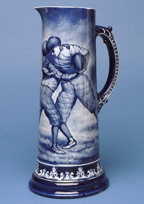 Large Belleek jug with rugby scene Fine Art Print by Irish School
