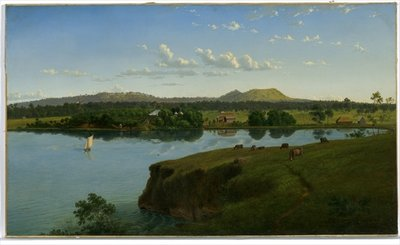 Purrumbete from across the lake, 1858 Fine Art Print by Eugen von Guerard