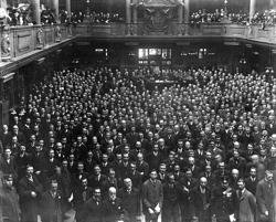 Group on floor of the Coal Exchange in Cardiff after alterations Fine Art Print by Anonymous
