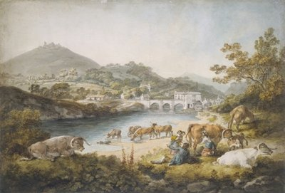 Llangollen and Dinas Bran, 1796 Wall Art & Canvas Prints by Julius Caesar Ibbetson