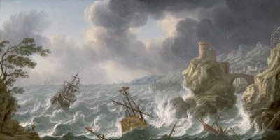 Shipwreck in a storm off a rocky coast Fine Art Print by Dutch School