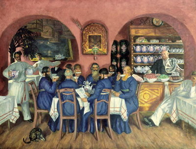 A Moscow Restaurant Wall Art & Canvas Prints by Boris Mikhailovich Kustodiev