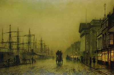 Liverpool Docks Customs House and Salthouse Docks, Liverpool Fine Art Print by John Atkinson Grimshaw