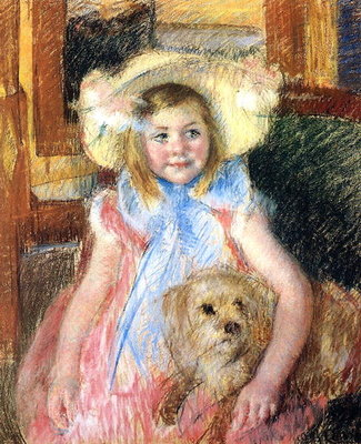Sara and her Dog, c.1901 Fine Art Print by Mary Stevenson Cassatt