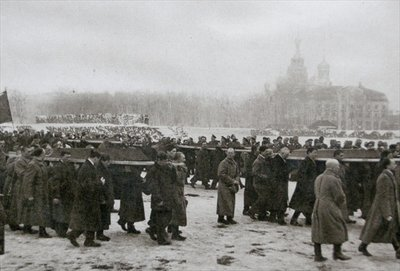 Dead victims of the uprising carried by students and workers, St. Petersburg, 1917 Fine Art Print by Anonymous