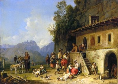 Monks feeding the poor, Italy, 1864-65 Fine Art Print by Heinrich Burkel