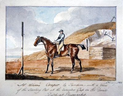 Mr Wilson's 'Creeper' by Tandem, with a view of the starting post and the running Gap in the Devil's Ditch at Newmarket, 1808 Wall Art & Canvas Prints by John Emery