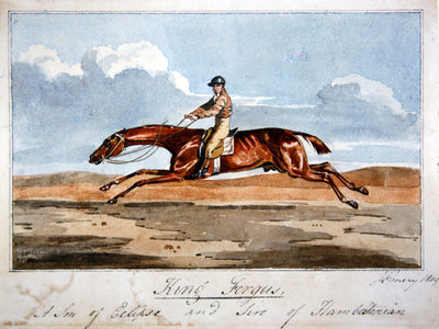 'King Fergus', a son of Eclipse and sire of Hambletonian, 1809 Wall Art & Canvas Prints by John Emery