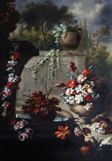 Still life of flowers in ornamental vases Poster Art Print by Gasparo Lopez