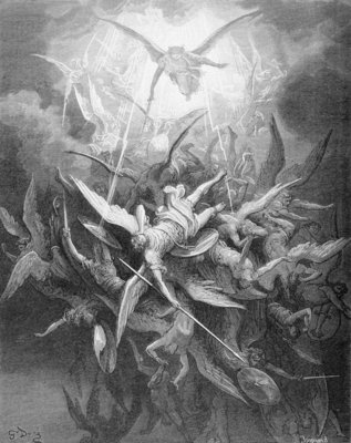 The Fall of the Rebel Angels, from Book I of 'Paradise Lost' by John Milton Fine Art Print by Gustave Dore
