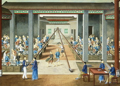 Tea culture: weighing and purchasing tea Fine Art Print by Chinese School