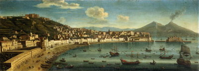 View of The Bay of Naples from the Bay of Chiaia Fine Art Print by Tommaso Ruiz