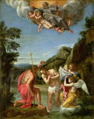Baptism of Christ Poster Art Print by Francesco Albani