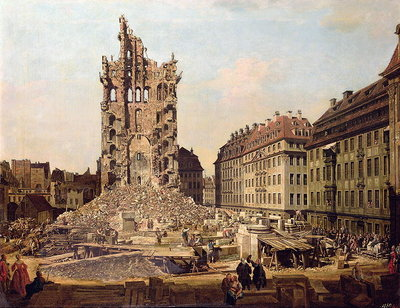 The Ruins of the old Kreuzkirche, Dresden Fine Art Print by Bernardo Bellotto