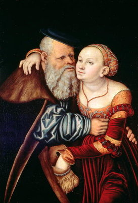 The Old Lover Fine Art Print by Lucas, the Elder Cranach