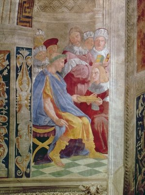 The Judicial Virtues: Pope Gregory IX approving the Vatical Decretals; Justinian handing the Pandects to Trebonianus Poster Art Print by Raphael