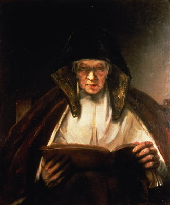 Old Woman Reading Fine Art Print by Rembrandt Harmensz. van Rijn