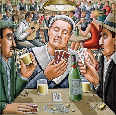 The Poker Players, 2003 Poster Art Print by P.J. Crook
