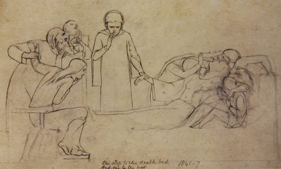 Studies for the figures of the Doctor, Mourners and Minerva, 1846 Fine Art Print by William Holman Hunt