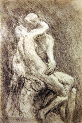A Study of Rodin's Kiss in his Studio Fine Art Print by Gwen John