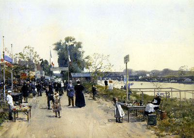A Village fete Fine Art Print by Luigi Loir