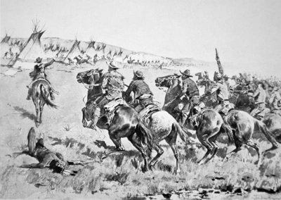 Texas Rangers attacking a Comanche village, 1896 (litho) Postcards, Greetings Cards, Art Prints, Canvas, Framed Pictures, T-shirts & Wall Art by Frederic Remington