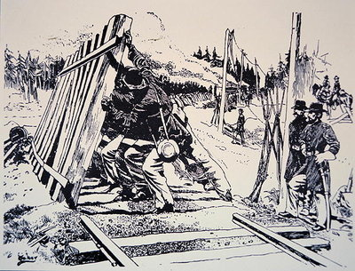 'Railway destruction as a military art' during General Sherman's march through Georgia, May-September, 1864 Fine Art Print by American School