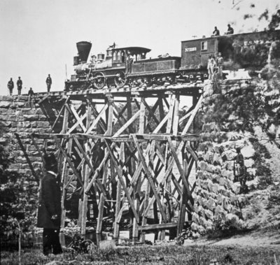 Wooden trestle bridge of the US Fine Art Print by Mathew Brady