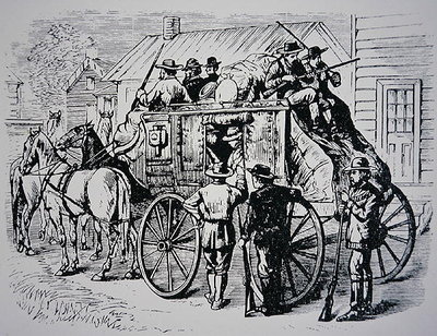 The Daily Stagecoach run from Winnemucca, Nevada, to Boise City, Idaho, 1877 Fine Art Print by American School