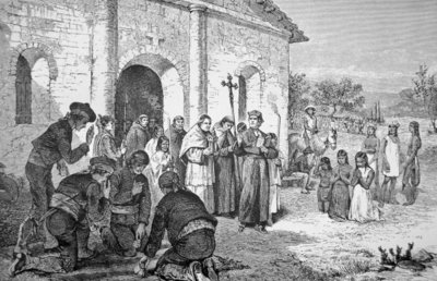 Spanish Missionaries in California in the 18th century Postcards, Greetings Cards, Art Prints, Canvas, Framed Pictures, T-shirts & Wall Art by American School